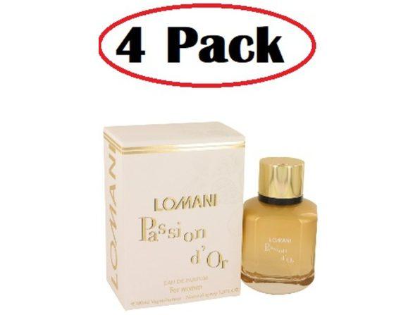 4 Pack of Lomani Passion D'or by Lomani Eau De Parfum Spray 3.3 oz - Product Image