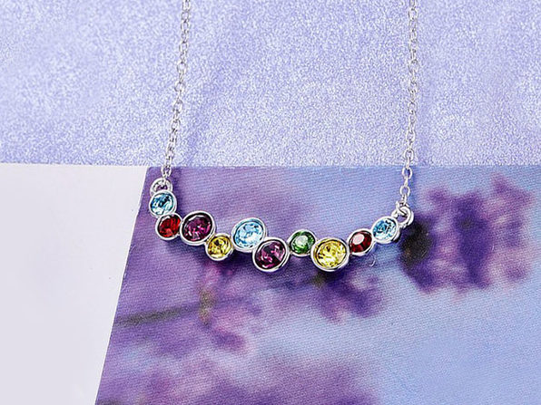 18K White Gold Bubbles Necklace with Rainbow Swarovski Crystals