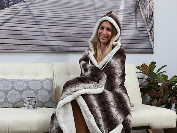 Sherpa-Lined Animal Print Hooded Robe - Brown - Product Image