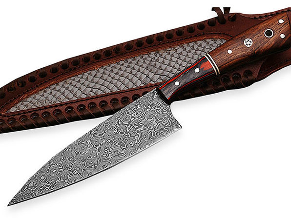 Chef Knife with Pakka Wood & Rose Wood Handle