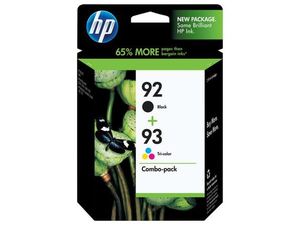 Hewlett-Packard 92-93 Ink Cartridges Combo Pack, Yields Approximately 220 Pages Black and Tri-Color Each (New Open Box)