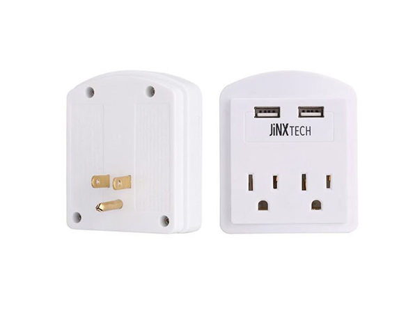 JinxTech 2-Outlet Wall Tap with Dual USB White - Product Image