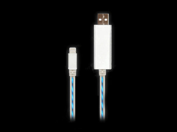 Glowing Charging Cable with Lightening Connector (White) - Product Image