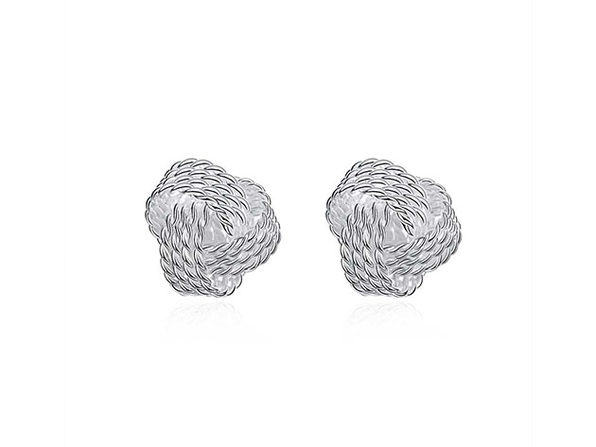 Mesh Twist Knot Stud Earrings (Silver)