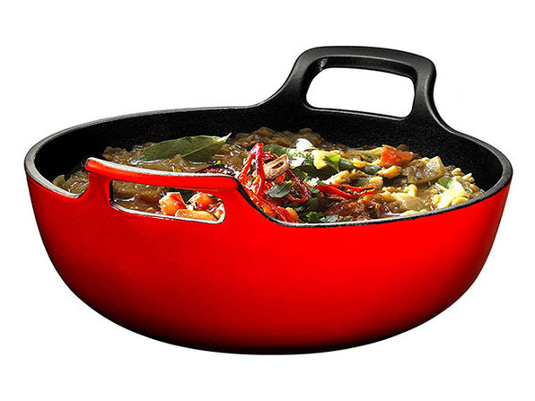 Enameled Cast Iron Balti Dish with Wide Loop Handles (5 Qt, Fire Red)