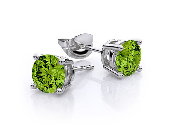 "0.28"" Birthstone Stud Earrings Made with Swarovski Crystals (Peridot)"
