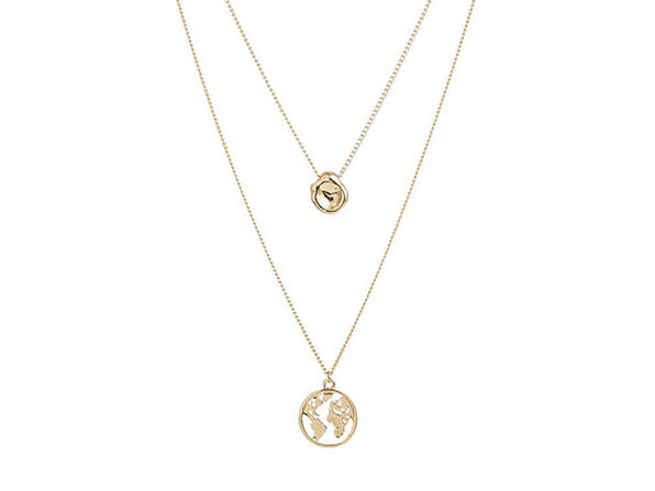 Gold Layered Necklace with Globe Pendant - Product Image