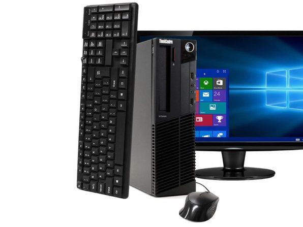 "Lenovo ThinkCentre M91 Desktop PC, 3.2GHz Intel i5 Quad Core Gen 2, 8GB RAM, 240GB SSD, Windows 10 Home 64 bit, 22"" Screen (Renewed)"