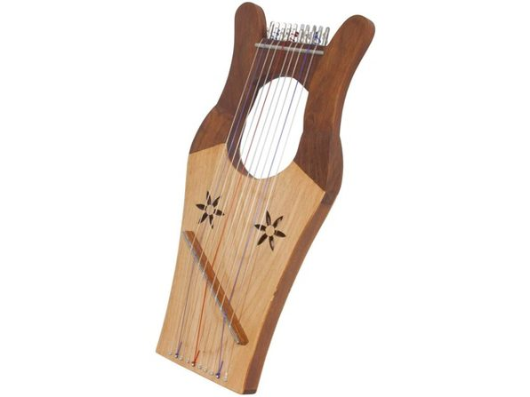 "Mid-East Mini Kinnor Harp 10 Nylon Strings for Biblical Scale, 16""x8"" - Light"