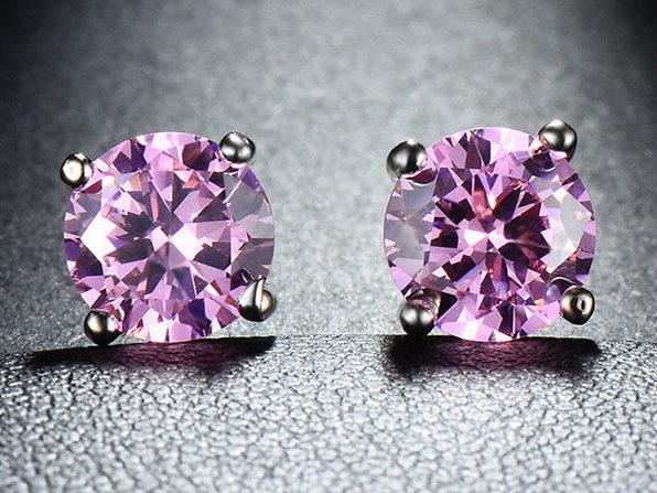 "0.28"" Birthstone Stud Earrings Made with Swarovski Crystals (Pink Topaz)"