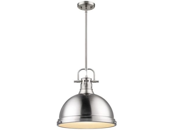 Golden Lighting 3604-L PW Duncan Pendant 120V Light - Pewter with Pewter Shade (Like New, Damaged Retail Box)