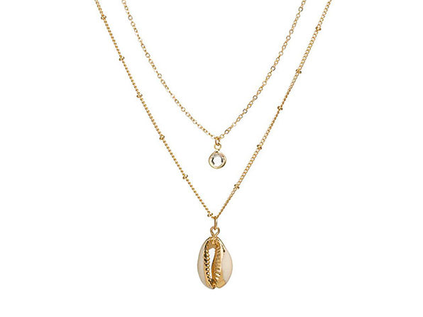 Puka Shell Necklace Gold with Gold Leaf