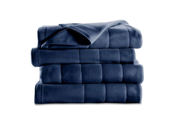 Sunbeam Royal Dreams Quilted Fleece Heated Electric Blanket Washable Auto Shut Off 10 Heat Settings - Newport Blue
