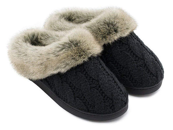 Women's Soft Yarn Cable Knitted Memory Foam Slippers (Black)