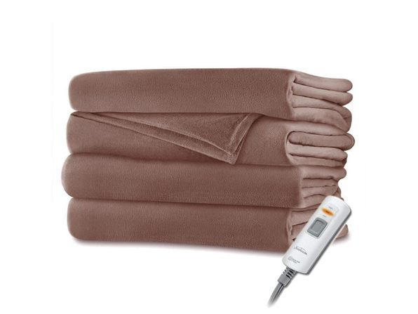 Sunbeam Velvet Microplush Electric Heated Throw Blanket Acorn Brown Washable Auto Shut Off 3 Heat Settings - Acorn