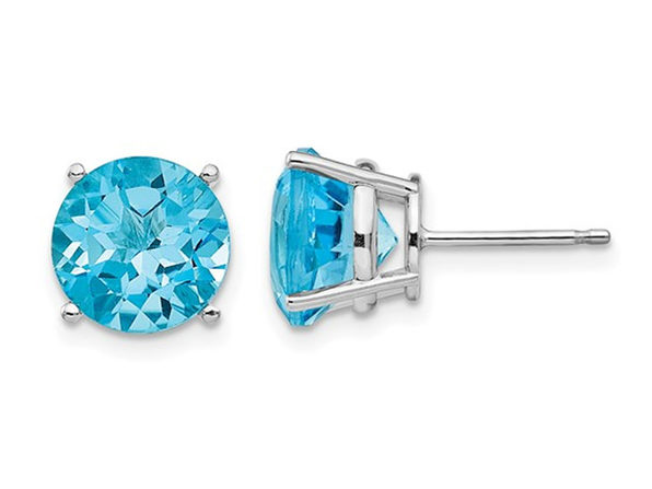 7.20 Carat (ctw) Natural Blue Topaz Solitaire Earrings in 14K White Gold