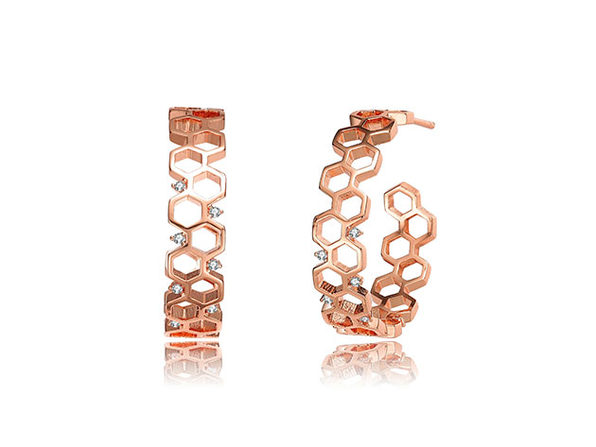 Geometric Hoop 14K Earrings (Rose Gold)