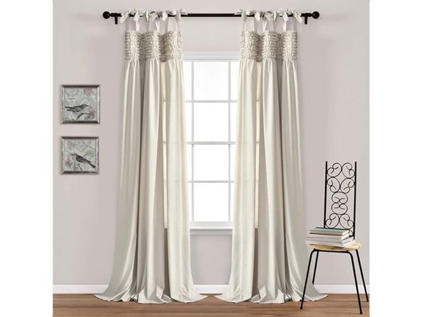 "Lush Decor Lydia Curtains Ruffle Window Panel Set for Living,84""x40 L - Neutral (Like New, Open Retail Box)"