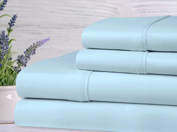 Kathy Ireland 4-Piece Lavender Scented Bed Sheets - Full - Aqua - Product Image