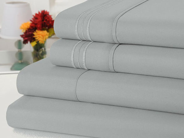 Bamboo Comfort 4-Piece Luxury Queen Sheet Set (Silver)