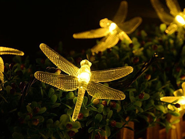 LED Dragonfly Solar Light String - WARM YELLOW - Product Image