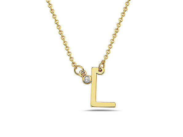 18K Gold Plated CZ Initial Necklaces - L - Product Image