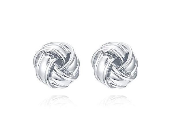 Classic Twist Knot Style Stud Earrings (Silver)