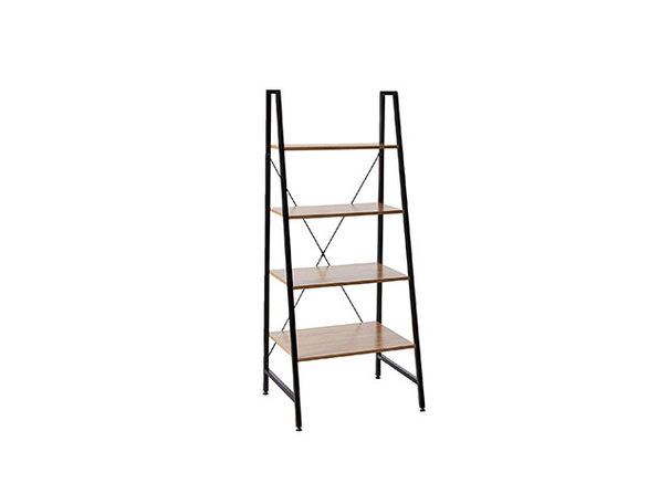 Black Steel Frame Ladder Style Wooden Desk with 4-Shelf Bookcase