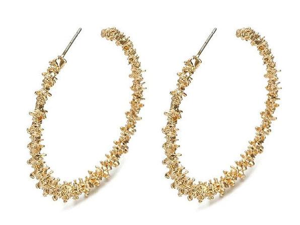 Gold Nugget Hoop Earrings - Product Image