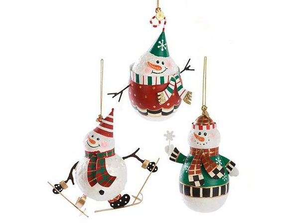 MacKenzie-Childs Snowman Ornaments - Set of 3