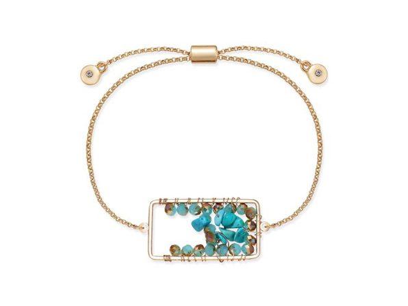 Inspired Life Stone Cluster Slider Bracelet - Blue