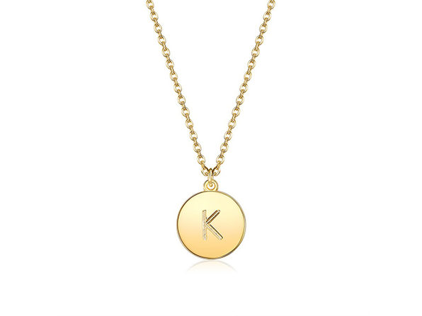 18K Gold Plated Smooth Disc Initial Necklace (Letter K)