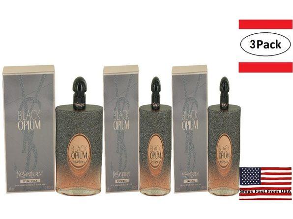 3 Pack Black Opium Floral Shock by Yves Saint Laurent Eau De Parfum Spray 3 oz for Women - Product Image