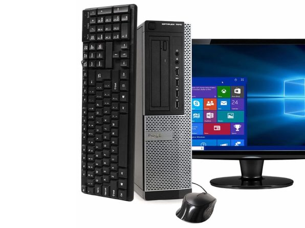 "Dell Optiplex 7010 Desktop PC, 3.2GHz Intel i5 Quad Core Gen 3, 8GB RAM, 120GB SSD, Windows 10 Home 64 bit, 22"" Screen (Renewed)"
