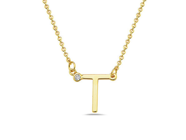 18K Gold Plated CZ Initial Necklaces - T - Product Image