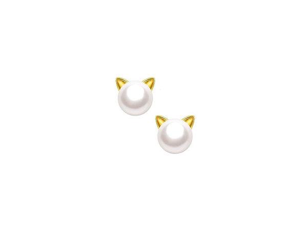 Freshwater Pearl Kitty Cat Stud Earrings