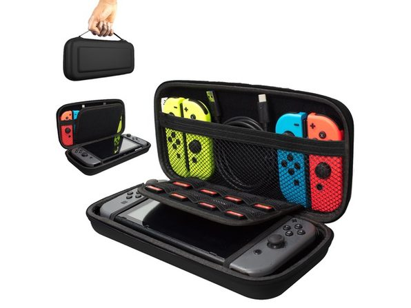 Nintendo Switch Carrying Storage Case, Protective Hard Case with handle, Holds 20 Games, Controller & Accessories - Silver