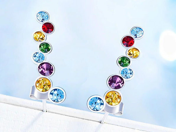 Bubble Studs with Rainbow Swarovski Crystals