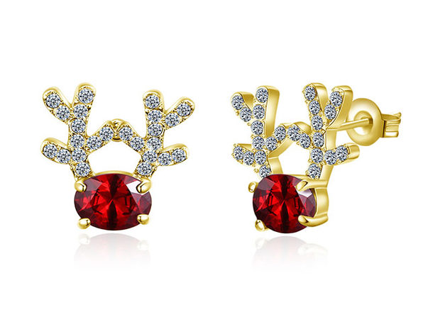 Reindeer Stud Earrings Ft. Red & White Swarovski