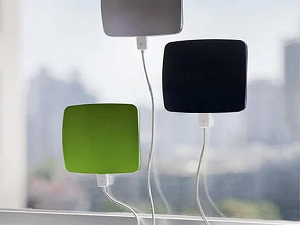 Cling Bling Window Solar Charger For Smart Phones (SQUARE Green) - Product Image
