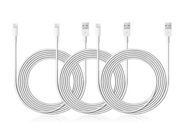 3-Pack 10-Feet 8-Pin Lightning to USB Charge and Sync Cable [Apple MFI Certified] (White)