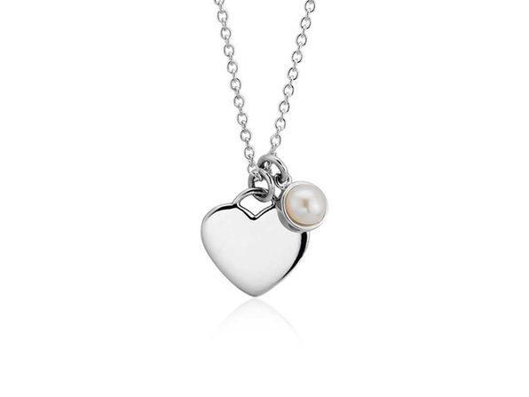 Homvare Women's 925 Sterling Silver Pearl Heart Necklace - Silver