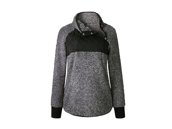 Asymmetrical Neck Mixed Media Fleece (Black)