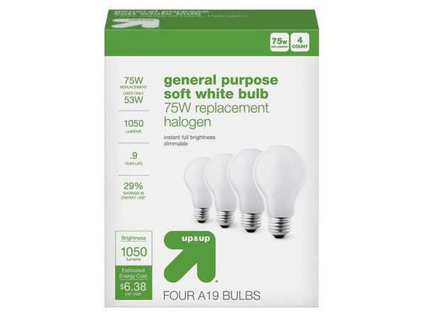 Up & Up A19 General Purpose 53 Watts Light Bulb Halogen, 1050 Lumens, 4 Count, Soft White (New Open Box)