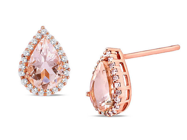 1.00CT Morganite 18K Rose Gold Plated Stud Earrings (Pear Cut)