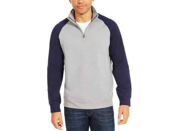 Club Room Mens Quarter-Zip Fleece Jacket
