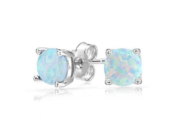Oceanic Opal-like Stud Earrings (Silver)