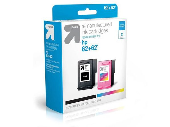 Up & Up HP 62 N9H64FN, C2P04AN, C2P06AN Black/Color Combo Remanufactured Replacement Ink Cartridges (New Open Box)