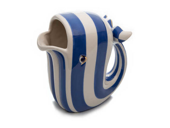 MacKenzie-Childs Royal Check Big Blue Whale Pitcher - Product Image