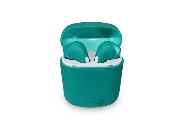 Wireless Earbuds in Rubberized Teal Casing - Product Image